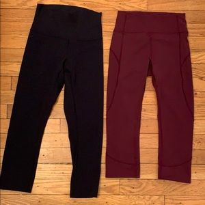 2 pairs of cropped Lululemon leggings